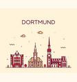 dortmund skyline rhine westphalia germany a vector image vector image