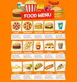 fast food cafe menu with meals and drinks vector image vector image