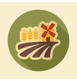 Field with a mill and wheat retro flat icon vector image