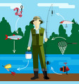 fisherman on the river bank vector image
