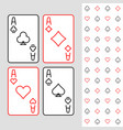 four aces playing cards minimal linear style vector image