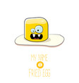 funny cartoon cute fried egg character vector image