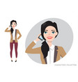girl is calling by phone vector image vector image