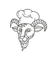 goat chef cook baker mono line vector image vector image