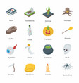 halloween isometric icons pack vector image
