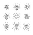 halloween set of funny spiders on transparent vector image