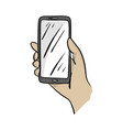 hand holding mobile phone sketch vector image
