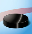 hockey puck on the red markings of blue ice vector image vector image