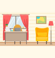 home office cozy living room with a work desk vector image vector image