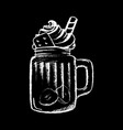 ice coffee cream white chalk on black chalkboard vector image vector image
