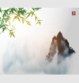 ink wash painting with green bambpp tree high vector image vector image