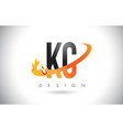 kc k c letter logo with fire flames design and vector image vector image
