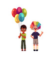 kids at birthday party holding balloons wearing vector image vector image
