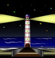 lighthouse by the sea in the night sky vector image vector image