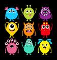 monster set happy halloween cute kawaii cartoon vector image vector image