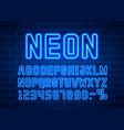 neon city color blue font english alphabet sign vector image vector image