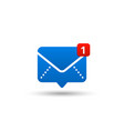 new message icon with notification envelope vector image
