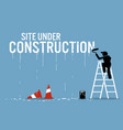 painter painting the word site under construction vector image