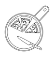 Pizza on cutting board icon in outline style vector image vector image