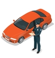 Policeman writing speeding ticket for a driver vector image vector image