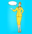 pop art stewardess flight attendant air hostess vector image