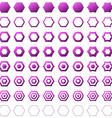 Purple hexagon polygon icon template set vector image vector image