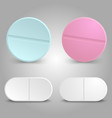 realistic drug design - medicinal pills set vector image