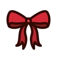 Red Christmas bow with outline thickness vector image vector image