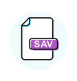 sav file format extension color line icon vector image vector image
