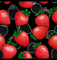 seamless pattern red strawberry with black and vector image vector image