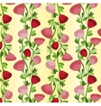 Seamless pattern with vertical lines of red roses vector image