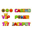 set colorful logo jackpot poker 777 vector image