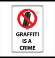 sign graffiti is a crime prohibition vector image
