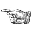 Sketch of a Hand Pointing to the Left vector image vector image