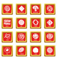 slice food icons set red square vector image vector image