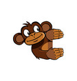 smiling monkey holding up an invisible frame vector image vector image
