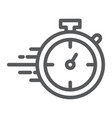 stopwatch line icon watch and countdown timer vector image vector image