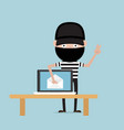 thief steal data from email on laptop vector image vector image