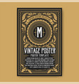 vintage luxury poster background template vector image vector image