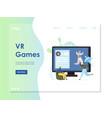vr games website landing page design vector image vector image