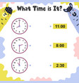 what time is it activity page for kids with clock vector image