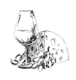 Wine glass with cheese and grapes vector image vector image