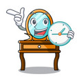 with clock dressing table character cartoon vector image