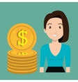woman currency money dollar vector image
