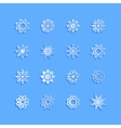 Blue snowflakes and shadow on white background art vector image