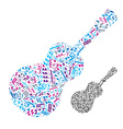Bright acoustic guitar filled with musical notes vector image