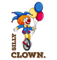 Silly clown with balloon vector image