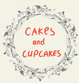 Cakes and cupcakes frame for the bakery or cafe vector image