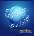 abstract 3d world music design concept vector image vector image