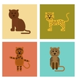 assembly flat icons nature cartoon panther tiger vector image